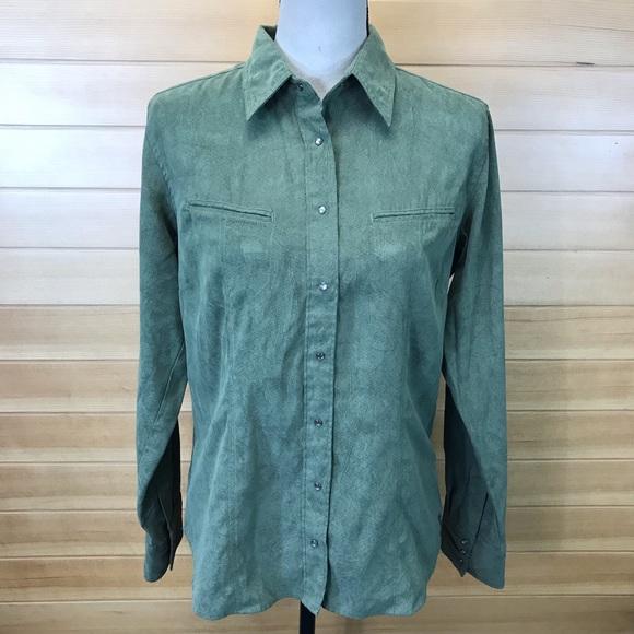 ba0a588fd92 Columbia Tops | Green Suede Snap Button Down Collar Shirt | Poshmark